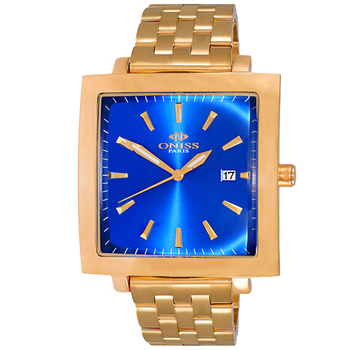BLUE, ROSE TONE, 3-HANDS DATE DIAL - ON4444-RGBU, RETAIL AT $275.00
