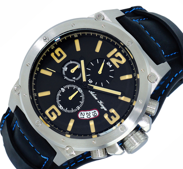 Chronograph Cuff-Leather Strap, Silver tone/Black-Tan Date - Dial, AK8896-MBN-BKBU-WIDE - RETAIL AT $575.00