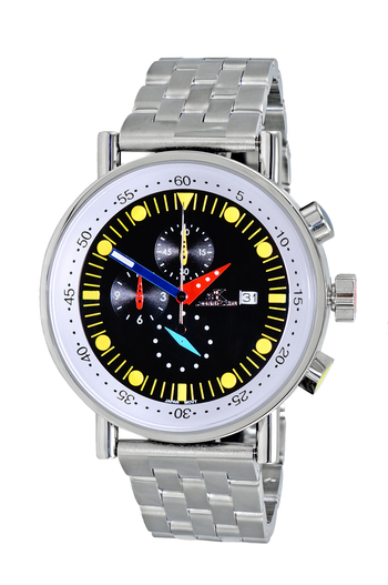 CHRONOGRAPH MOVEMENT, STAINLESS STEEL CASE AND BAND,  MULTI- COLOR HANDS , AK2268-40BK_YL - RETAIL AT $675.00