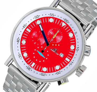 CHRONOGRAPH MOVEMENT, STAINLESS STEEL CASE AND BAND,  MULTI- COLOR HANDS , AK2268-40_RD - RETAIL AT $675.00