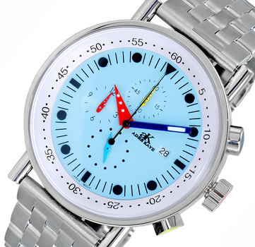 CHRONOGRAPH MOVEMENT, STAINLESS STEEL CASE AND BAND,  MULTI- COLOR HANDS , AK2268-50_LBU - RETAIL AT $675.00