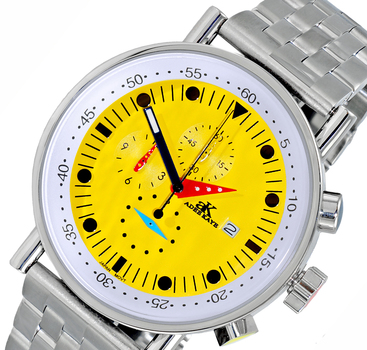 CHRONOGRAPH MOVEMENT, STAINLESS STEEL CASE AND BAND,  MULTI- COLOR HANDS , AK2268-50_YL - RETAIL AT $675.00