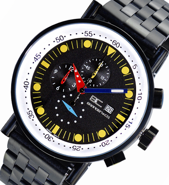 CHRONOGRAPH MOVEMENT, STAINLESS STEEL CASE AND BAND,  MULTI- COLOR HANDS , LCBC2222-IPBKYL - RETAIL AT $675.00