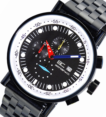 CHRONOGRAPH MOVEMENT, STAINLESS STEEL CASE AND BAND,  MULTI- COLOR HANDS , LCBC2223-IPBK - RETAIL AT $675.00