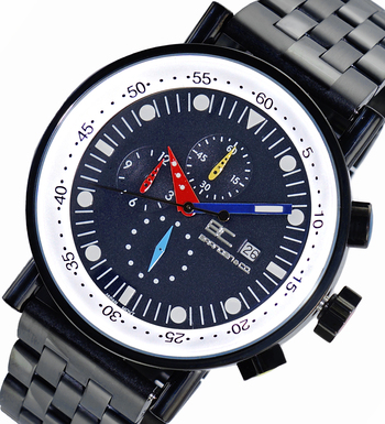 CHRONOGRAPH MOVEMENT, STAINLESS STEEL CASE AND BAND,  MULTI- COLOR HANDS , LCBC2223-IPBK/BU - RETAIL AT $675.00