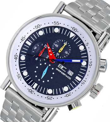 CHRONOGRAPH MOVEMENT, STAINLESS STEEL CASE AND BAND,  MULTI- COLOR HANDS , LCBC2224-MBU - RETAIL AT $675.00