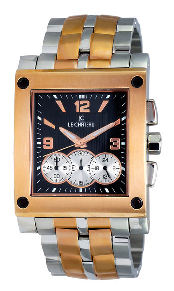 CHRONOGRAPH MOV'T, 2TONE ROSE-GOLD, LC-5403M-2TBK, RETAIL AT $429.00