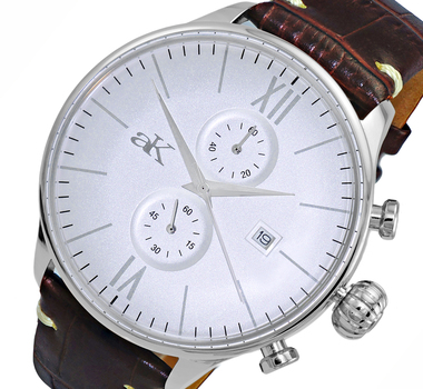 CHRONOGRAPH MOV'T,  DAY-DATE COUNTER, AK2376-MSV, RETAIL AT $495.00