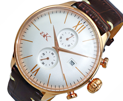 CHRONOGRAPH MOV'T,  DAY-DATE COUNTER, AK2376-RGSV, RETAIL AT $495.00