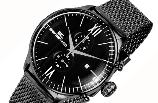 CHRONOGRAPH MOV'T,  DAY-DATE COUNTER, BC6566-MIPBK-MESH, RETAIL AT (MSRP: $595.00)