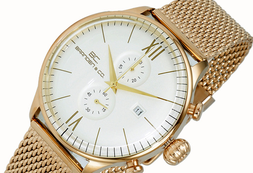 CHRONOGRAPH MOV'T,  DAY-DATE COUNTER, BC6571-RGGWT-MESH, RETAIL AT (MSRP: $595.00)