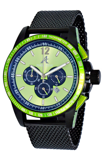 CHRONOGRAPH MOV'T,   MESH-BAND,  DAY-DATE COUNTER, AK7141-GN/MESH, RETAIL AT $750.00.00