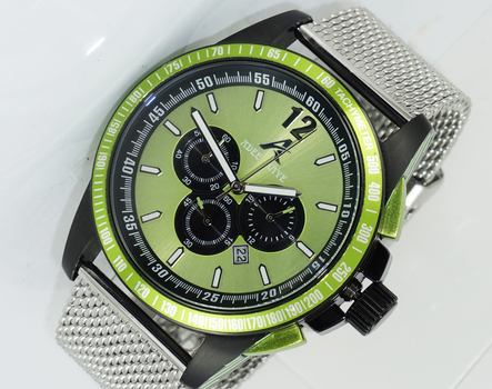 CHRONOGRAPH MOV'T,   MESH-BAND,  DAY-DATE COUNTER, AK7141-GNSV-Mesh, RETAIL AT $750.00.00