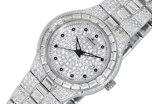 DATE -3 HANDS PAVE DIAL, ACCENTED WITH CRYSTAL STONE, AK2525-L - RETAIL AT (MSRP: $495.00)