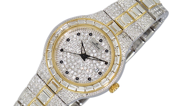 DATE -3 HANDS PAVE DIAL, ACCENTED WITH CRYSTAL STONE, AK2525-L2G - RETAIL AT (MSRP: $495.00)