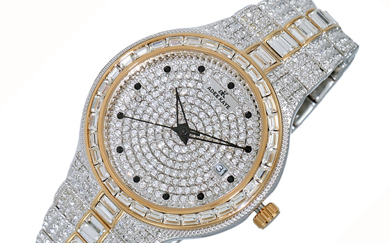 DATE -3 HANDS PAVE DIAL, ACCENTED WITH CRYSTAL STONE, AK2525-M2RG - RETAIL AT (MSRP: $495.00)