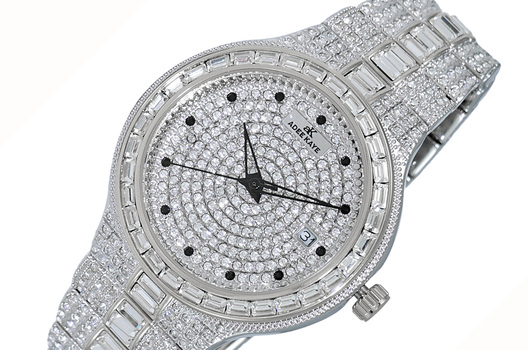 DATE -3 HANDS PAVE DIAL, ACCENTED WITH CRYSTAL STONE, AK2525-MSV - RETAIL AT (MSRP: $495.00)