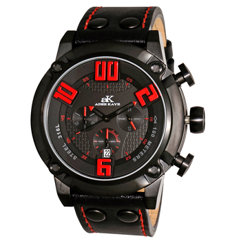 Double layer dial, Chronograph  Movement, Genuine Leather band, AK7280-MIPB/RD, RETAIL AT $775.00