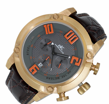 Double layer dial, Chronograph  Movement, Genuine Leather band, AK7280-MRGGY-DBN, RETAIL AT $775.00