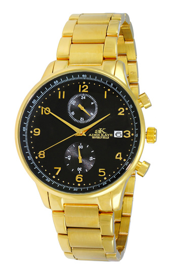 DUAL TIME OF 24 HOUR REGULATOR, GOLDTONE CASE AND BAND. AK7501-MGBK , RETAIL AT $ 375.00