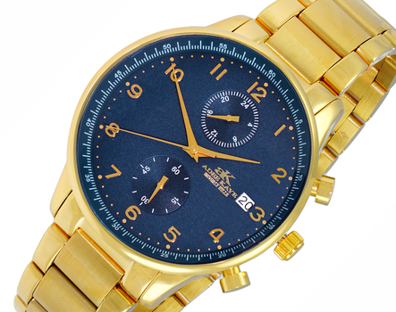 DUAL TIME OF 24 HOUR REGULATOR, GOLDTONE CASE AND BAND. AK7501-MGBU , RETAIL AT $ 375.00