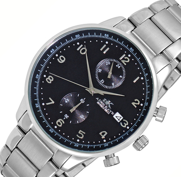 DUAL TIME OF 24 HOUR REGULATOR, SILVER TONE CASE AND BAND. AK7501-MBK, RETAIL AT $245.00