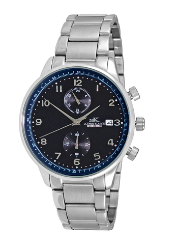 DUAL TIME OF 24 HOUR REGULATOR, SILVER TONE CASE AND BAND. AK7501-MBK/BU, RETAIL AT $245.00
