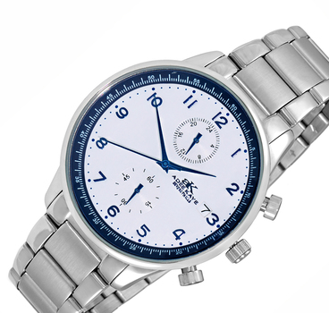 DUAL TIME OF 24 HOUR REGULATOR, SILVER TONE CASE AND BAND. AK7501-MBSV-BU, RETAIL AT $245.00