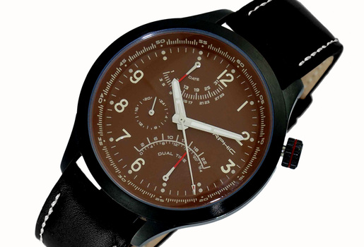 DUAL TIME ZODE - DATE DIAL, BLACK IP TONE - LCM2020BN - RETAIL AT (MSRP: $475.00)
