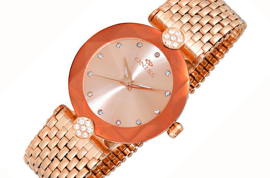 FACETED CRYSTAL, ROSETONE ACCENTED WITH  WHITE AUSTRIAN CRYSTAL,  ON8777-LBRG/RG , RETAL AT (MSRP: $345.00)