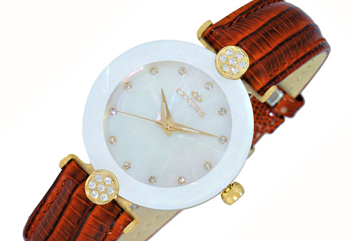 FACETED MINERAL CRYSTAL, AUSTRIAN CRYSTAL ACCENT, GENUINE LEATHER BAND,  ON8776-LG/SV , RETAL AT (MSRP: 345.00)
