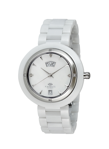 GENUINE DIAMONDS, SWISS QUARTZ MOV'T,  HIGH TECH CERAMIC CASE AND BAND, MOTHER OF PEARL DIAL,.ON609-L/WT, RETAIL AT $800.00