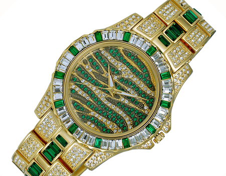 GOLD TONE, MULTI-COLORED STONE (GREEN- WHITE) QUARTZ MOV'T, AK1177-G - RETAIL AT (MSRP: $545.00)