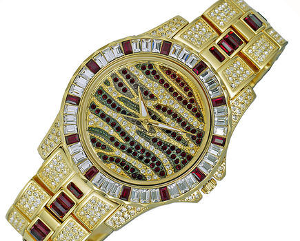 GOLD TONE, MULTI-COLORED STONE (RED- WHITE) QUARTZ MOV'T, AK1177R - RETAIL AT (MSRP: $545.00)