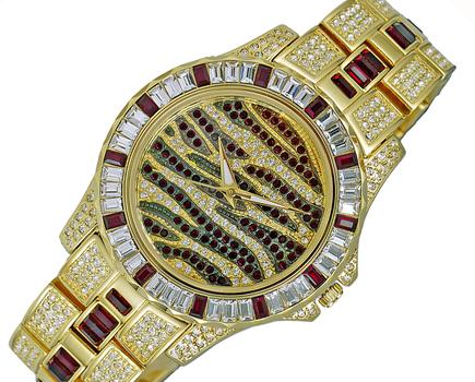 GOLD TONE, MULTI-COLORED STONE (RED- WHITE) QUARTZ MOV'T, AK1177R - RETAIL AT (MSRP: $545.00)
