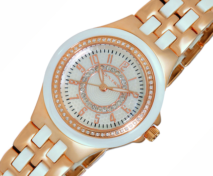 HIGH TECH CERAMIC, AUSTRIAN CRYSTAL ACCENT, MOP DIAL, ON2430-12_LRGWT, RETAIL AT  $375.00