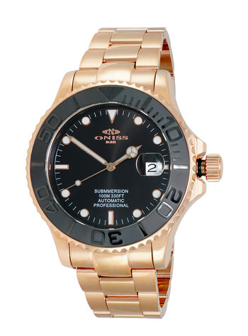 JAPAN H35 AUTOMATIC DATE - MOVEMENT, CERAMIC BEZEL, SUNRAY DIAL, ON7772-MRGBK RETAIL AT $695.00