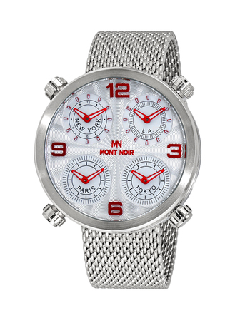 Le Chateau 4-TIME ZONE WATCH, DOUBLE LAYER DIAL, STAINLESS STEEL MESH  BAND, MN3333-MSV/MESH, RETAIL AT $625.00