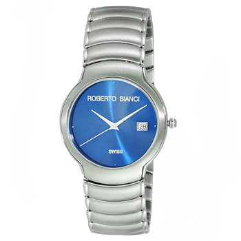 Le Chateau (Bianci) men's Swiss 35 mm Silver Tone & Blue Sunray Dial All Stainless Steel Date Watch ,Retail at (MSRP: $495.00)