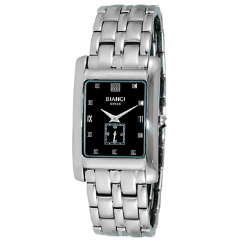Le Chateau (Bianci) men's Swiss Rectangular Silver Tone & Black Dial Stainless Steel Watch ,  Retail at (MSRP: $495.00)