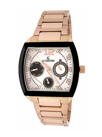 Le Chateau Ladies Watch - 3 Hands, Calendar Dial (Brand New),LC-5420M_RG_WT -  RETAIL at  $350.00
