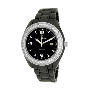 Le Chateau Ladies Watch,  Black High-tech Ceramic,Austrian accent crystal (Brand New), LC-5868M-BK - RETAIL at  $449.00