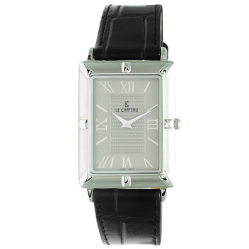 """Le Chateau Men's """"Gothic"""" Stainless Steel & Leather Watch, Retail at  (MSRP: $425.00)"""