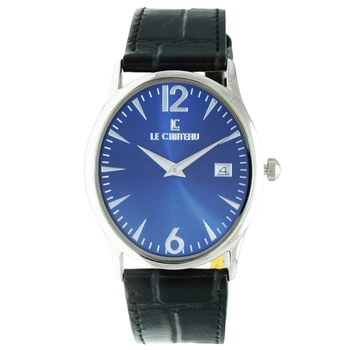 Le Chateau Men's Oval Shape 2 Hand Stainless Steel & Leather Watch,  Retail at  (MSRP: $425.00)