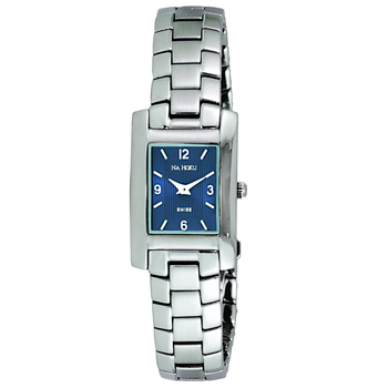 Le Chateau (Na Hoku) Swiss Women's All Stainless Steel Silver Tone & Blue Sunray Dial Watch,  (Retail at MSRP $:495.00)