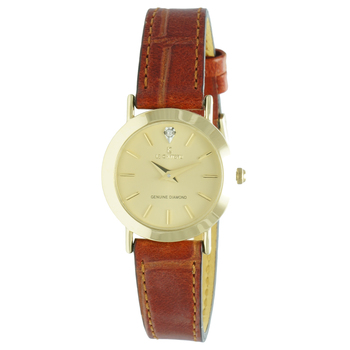 Le Chateau Women's Genuine Diamond Gold Tone Stainless Steel & Leather Watch,  Retail at (MSRP: $445.00)