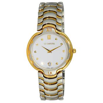 "Le Chateau Women's ""Glisten"" Silver & Gold Tone Date Quartz Watch-White Dial, LC121SS-L2TG-WT  (Retail at MSRP: $445.00)"
