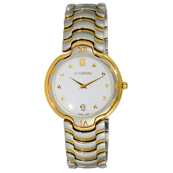 "Le Chateau Women's ""Glisten"" Silver & Gold Tone Date Quartz Watch-White Dial, LC121SS-L2TG-WT  (Retail at MSRP: $445.00)"