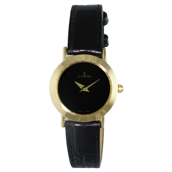 Le Chateau Women's Gold Tone & Black Stainless Steel & Leather Watch,  Retail at  (MSRP: $395.00)