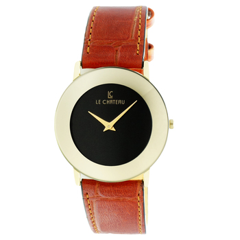 Le Chateau Women's Gold tone, Dome Crystal, Stainless Steel & Leather Watch,  Retail at  (MSRP: $425.00)